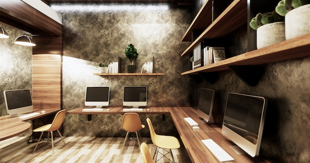 Office studio loft style interior design concrete wall gray glossy on wooden tiles