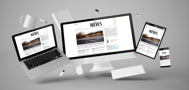 Office stuff and devices floating with news website 3d rendering