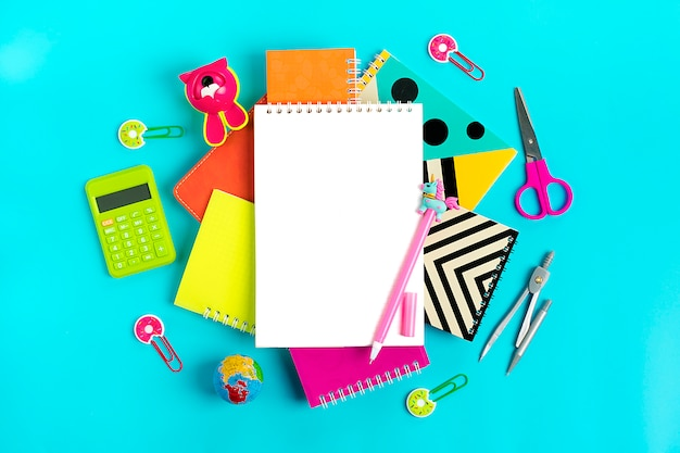 Office supplies on blue back to school