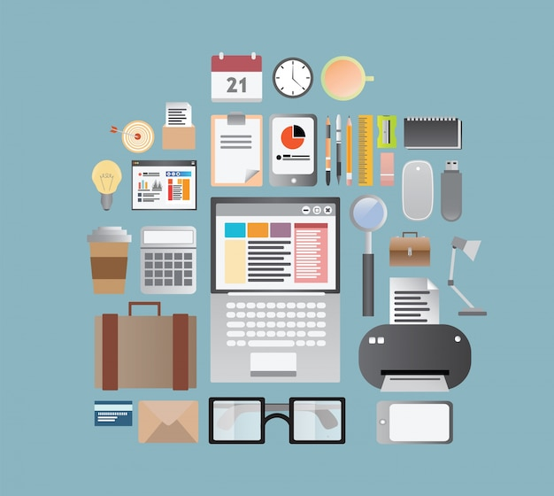 Office supplies and business vector