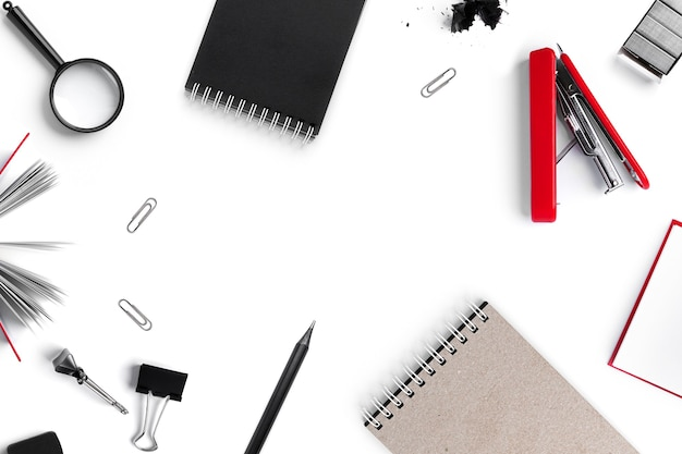 Office supplies isolated on white surface