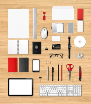 Office supplies mockup