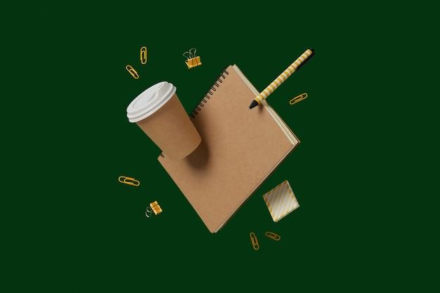 事務用品の文房具が緑の背景に浮揚して学校の創造的なレイアウトに戻る