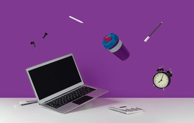 事務用品の文房具が白いテーブルの上に浮揚して学校のクリエイティブなレイアウトに戻る