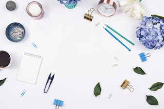 Office table desk. stationary on white background. Flat lay. Top view.