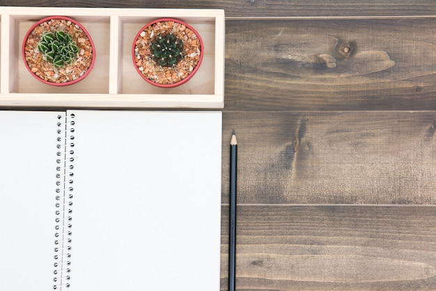 Office table with cactus, empty book, black pencil and glasses on wooden table
