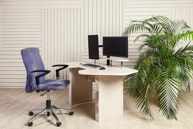 Office table with two monitors, a lifting mechanism for the holder of a manitor and a table top for which you can work standing and sitting. universal office table