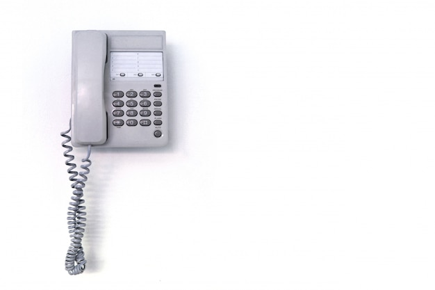 Office telephone on a white background. leave space.