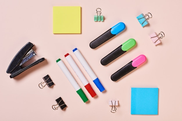 Office tools flat lay