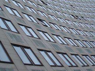 Office windows, dismal