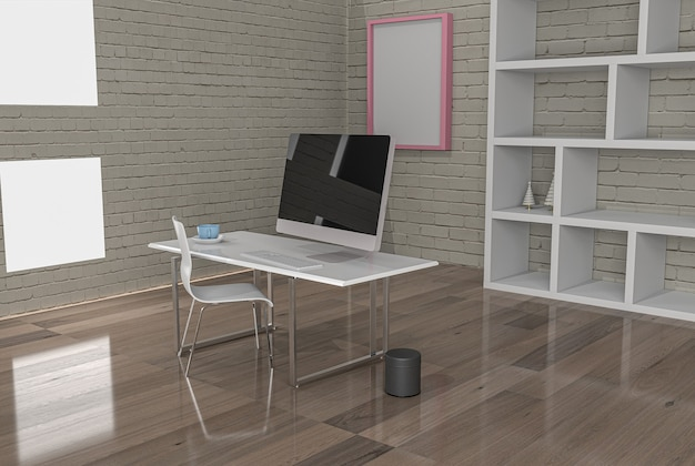 Office with virus prevention separations 3d rendering .3d illustration