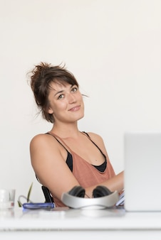 An office woman sitting on chair relaxed