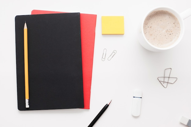 Office worker stuff on white surface