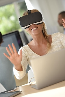 Office-worker using vr headset, 3d, virtual reality