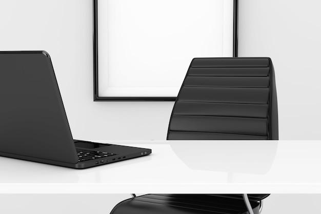 Концепция рабочего места офиса. компьтер-книжка на белом столе перед черным кожаным офисным креслом крайним крупным планом. 3d рендеринг