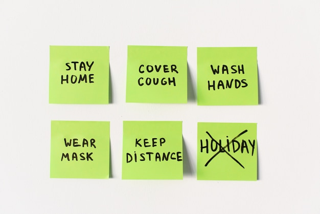 Official precautions and preventive measures to remember on sticky post notes isolated on white background