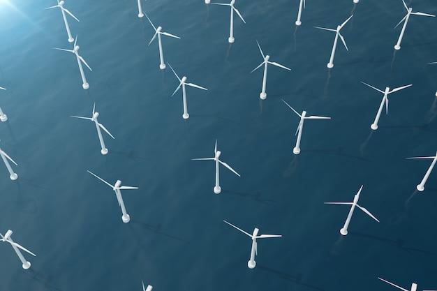 바다에서 바람 터빈의 해외 조감도. 청정 에너지, 생태 개념. 3d 렌더링
