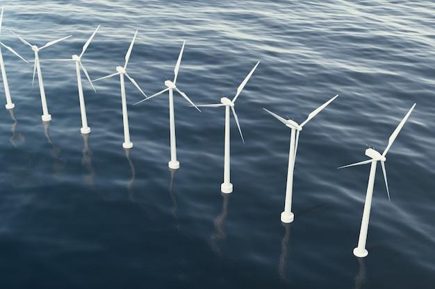 海の風力タービンのオフショア航空写真。クリーンエネルギー、生態学的な概念。 3dレンダリング