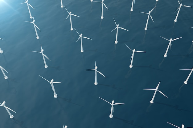Offshore aerial view of wind turbines in the sea. clean energy, ecological concept. 3d rendering Premium Photo