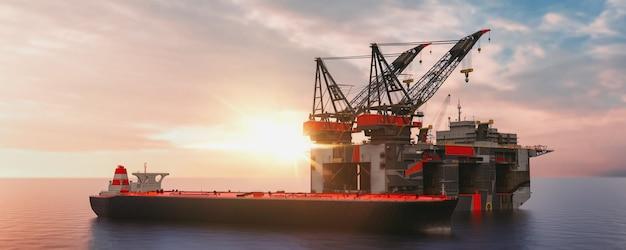 근해 석유 및 가스 탐사 활동 수송선 3d 렌더링 및 그림