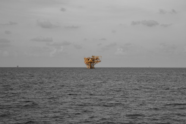 Offshore sea rig remote industry oil and gas production petroleum pipeline.