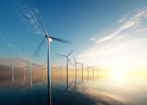 새벽에 해상 풍력 공원입니다. 3d 렌더링.