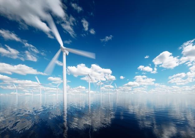 잔잔한 오후에 부분적으로 흐린 하늘을 배경으로 하는 해상 풍력 발전소. 3d 렌더링.
