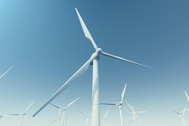 바다, 바다에서 해상 풍력 터빈. 청정 에너지, 풍력 에너지, 생태 개념. 3d 렌더링