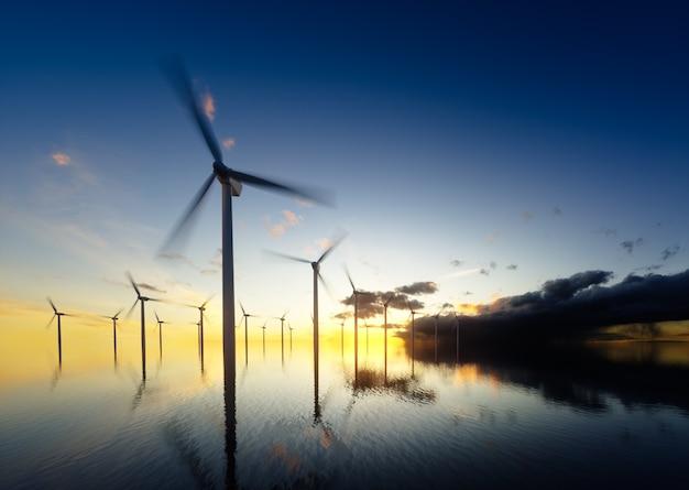 새벽에 해상 풍력 터빈입니다. 3d 렌더링.