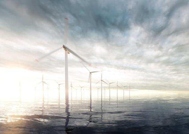 백그라운드에서 일몰 폭풍이 하늘과 해상 풍력 터빈. 3d 렌더링.