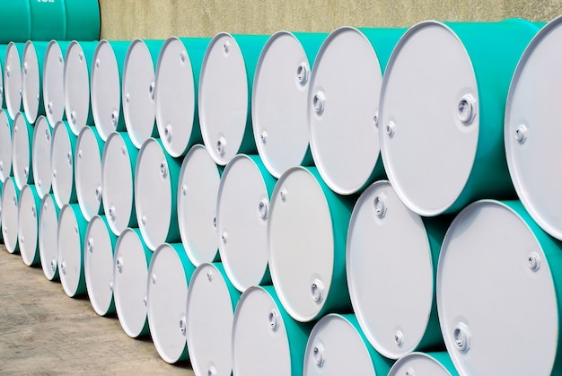 Oil barrel lined up in perspective