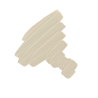 ベージュの色調のオイルブラシストローク白い背景の上のメイクアップファンデーションテクスチャ