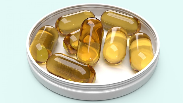 Oil capsules on white plastic plate for medical content 3d rendering.