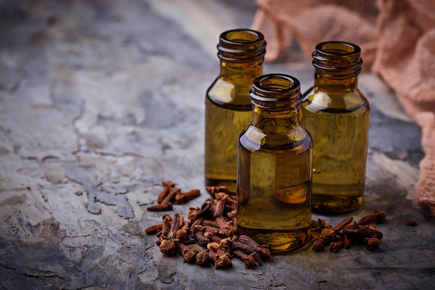 Oil of cloves in a small bottle. selective focus