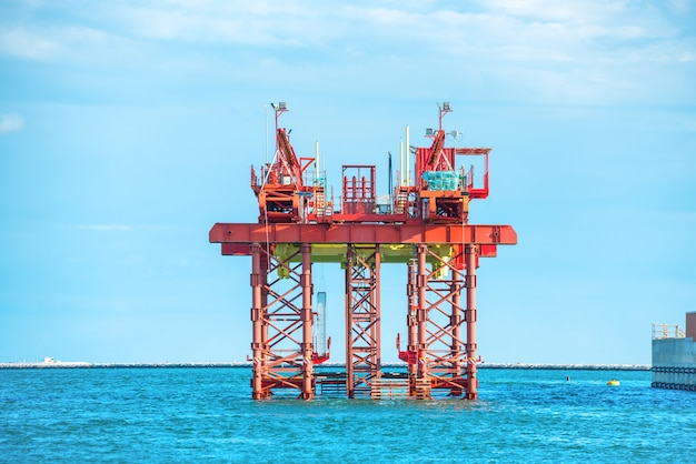 Oil drilling platform offshore in the sea