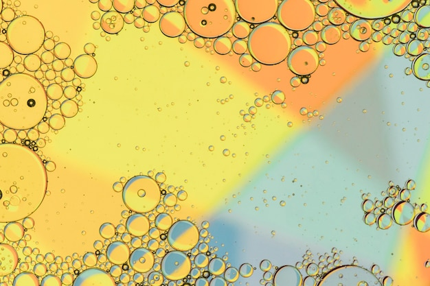 Oil droplets on water surface
