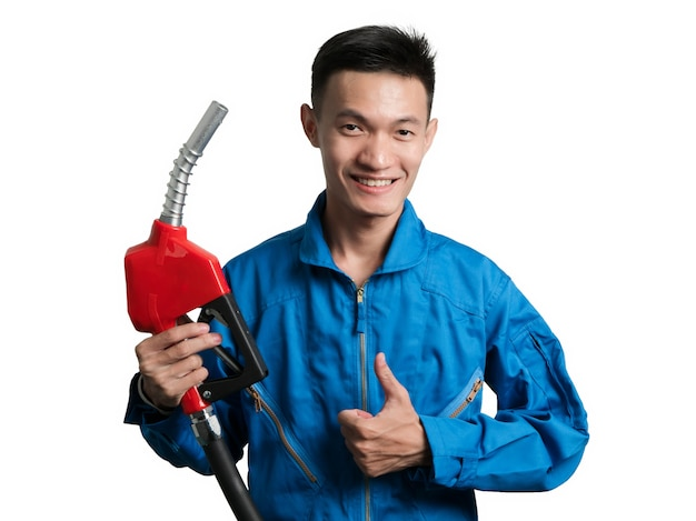 Oil engineer man holding fuel oil nozzle for oil system gasohol 91.