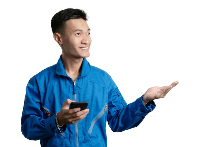 Oil engineer using mobile phone, asian man portrait.