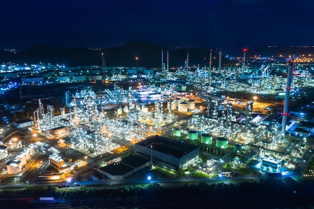 Oil and gas refinery industry area at night