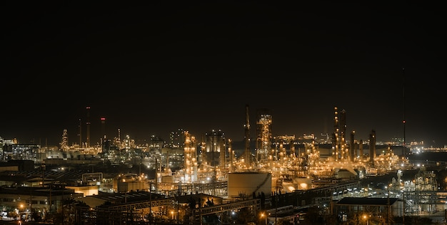 Oil and gas refinery industry plant at night