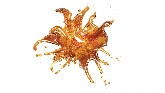 Oil honey splash on white bakckground. macro camera