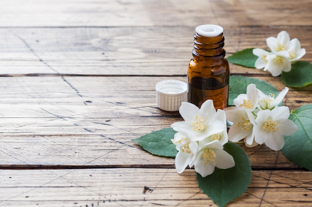 Oil of jasmine. aromatherapy with jasmine oil.