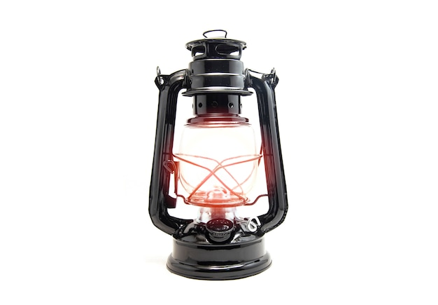 Oil lamp isolated on white background - old lantern vintage classic black