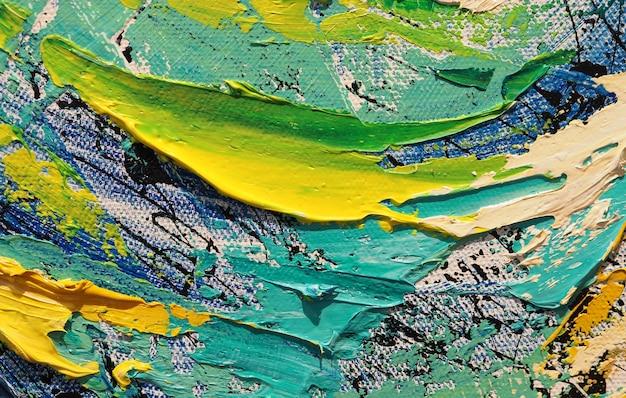 テクスチャーとキャンバスの抽象的な背景に油絵。