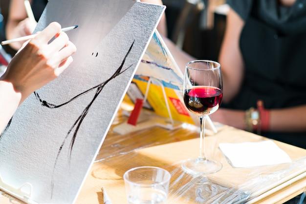 Oil painting wine