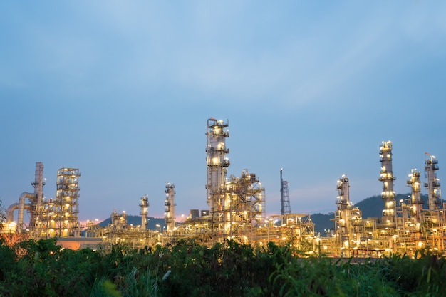 Oil petrochemical refinery plant during sunset