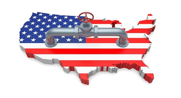 미국 국기 색 지도의 오일 파이프 및 밸브. 3d 일러스트레이션