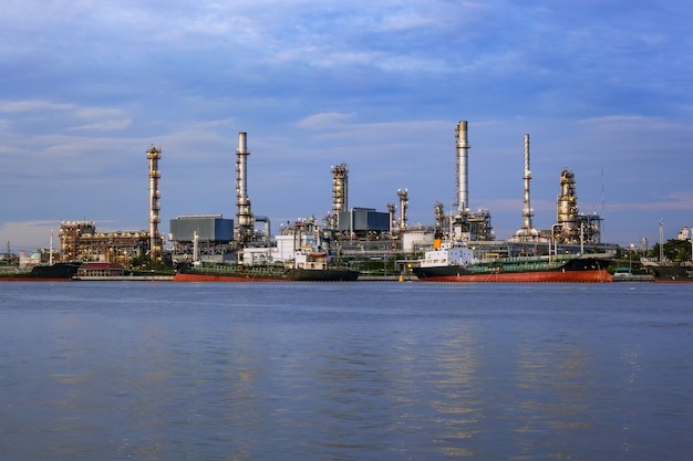 Oil refinery, business industry factory concept can use as background