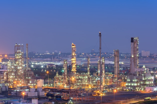 Oil refinery factory in the morning