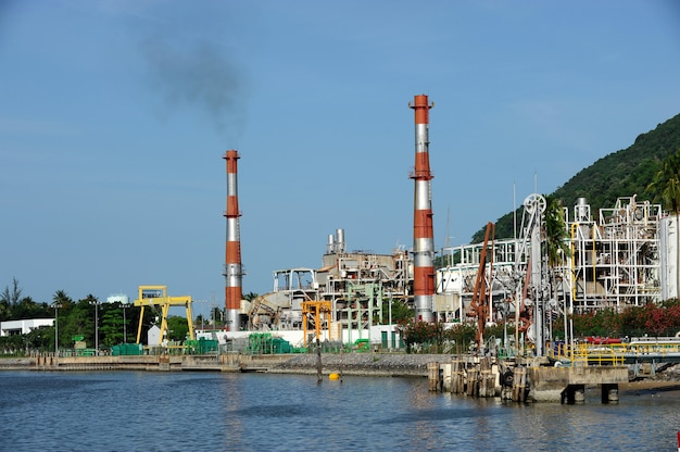 Oil refinery factory near sea, nakornsrithammarad, thailand.